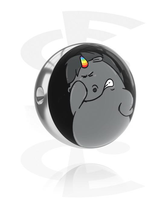Palloja, nappeja ynnä muuta, Pallo pallopäiseen renkaaseen kanssa Grumpy Unicorn Design, Kirurginteräs 316L