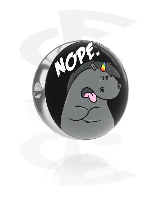 Kuglice, šipkice i još mnogo toga, Kuglica za alku za piercing s Grumpy Unicorn Design, Kirurški čelik 316L