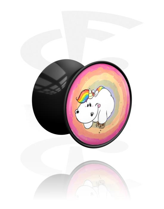 Tunnels & Plugs, Double Flared Plug with Chubby Unicorn Design, Acrylic
