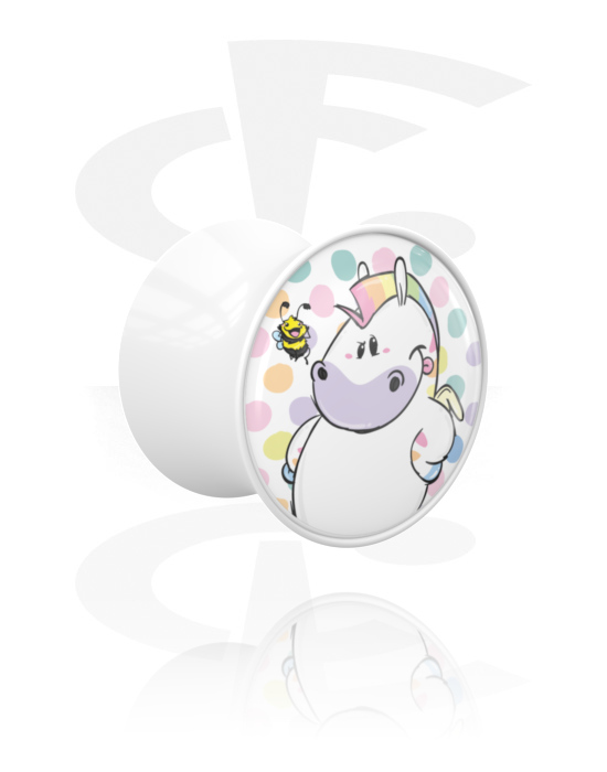 Tunely & plugy, Double Flared Plug s Chubby Unicorn Design, Akryl