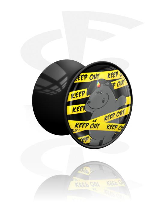 Tunnels & Plugs, Double Flared Plug met Grumpy Unicorn Design, Acryl