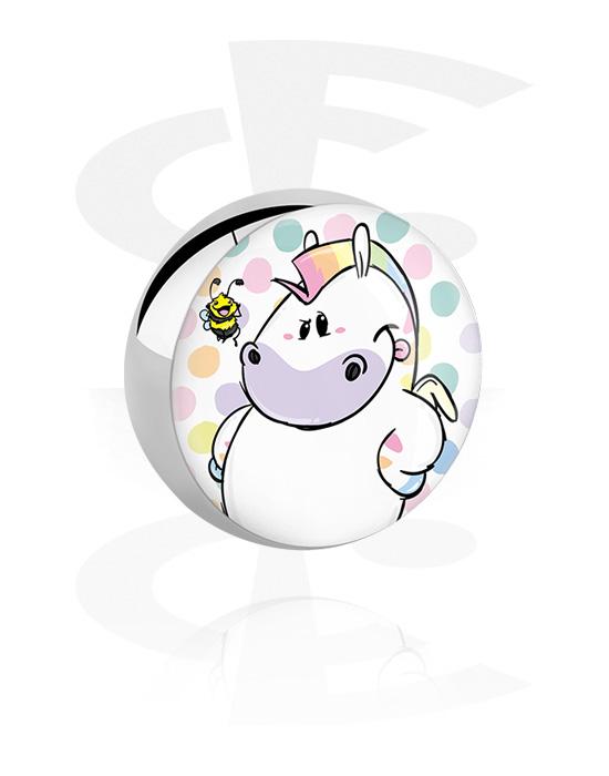 Kuličky, kolíčky a další, Ball s Chubby Unicorn Design, Chirurgická ocel 316L