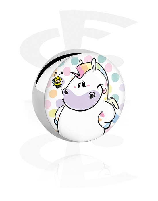 Balls, Pins & More, Ball with Chubby Unicorn Design, Surgical Steel 316L