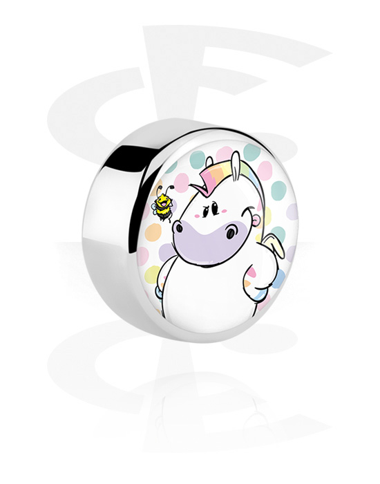 Balls, Pins & More, Disc with Chubby Unicorn Design, Surgical Steel 316L