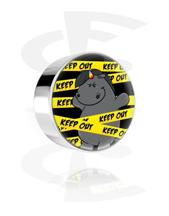 Palloja, nappeja ynnä muuta, Disk kanssa Grumpy Unicorn Design, Kirurginteräs 316L