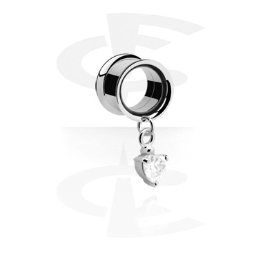 Tunele & plugi, Tunnel with Pendant<br/>[Surgical Steel 316L], Surgical Steel 316L