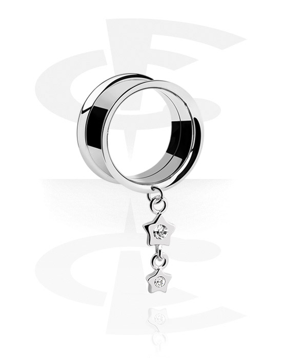 Tunnels & Plugs, Double Flared Tunnel with star attachment, Surgical Steel 316L