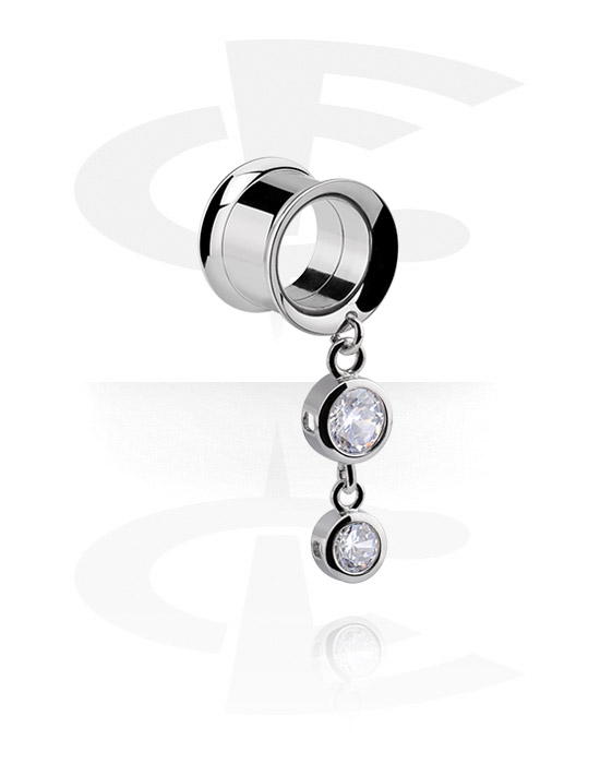 Tunnels & Plugs, Double Flared Tunnel met kristalsteentjes, Chirurgisch staal 316L