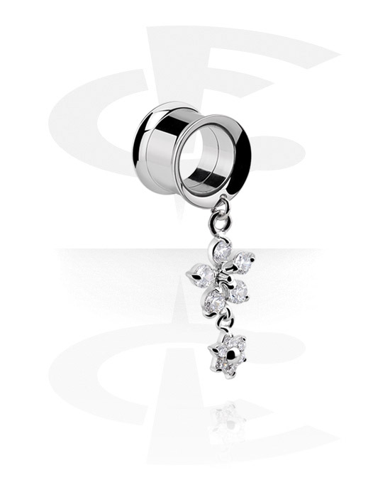 Tunnels & Plugs, Double Flared Tunnel with flower attachment, Surgical Steel 316L