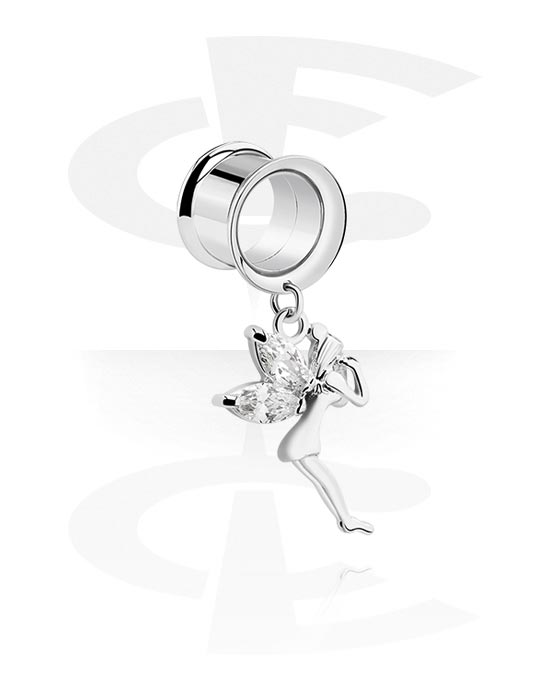 Tunele & plugi, Double Flared Tunnel z charm, Stal chirurgiczna 316L