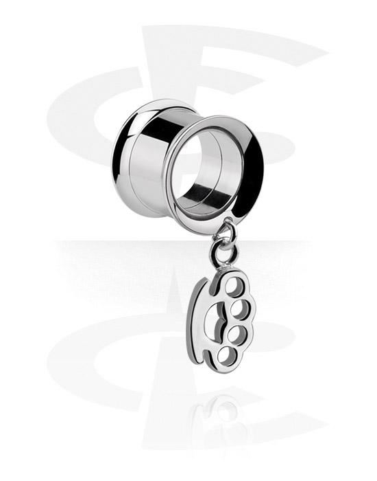 Tunnels & Plugs, Double Flared Tunnel with charm, Surgical Steel 316L