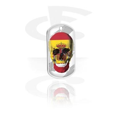 Dog Tags, Skull Dog Tag with Spanish Flag, Aluminum