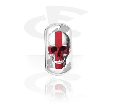 Dog Tags, Skull Dog Tag with English Flag, Aluminum