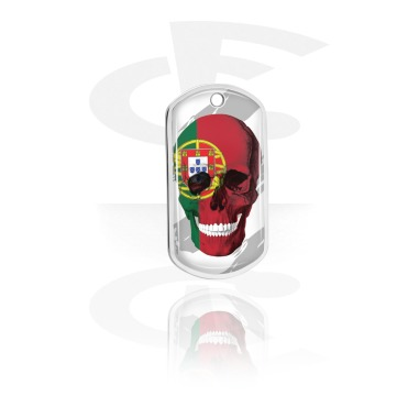Dog Tags, Skull Dog Tag with Portuguese Flag, Aluminum