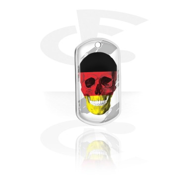 Dog Tags, Skull Dog Tag with German Flag, Aluminum
