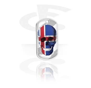 Dog Tags, Skull Dog Tag with Icelandic Flag, Aluminum