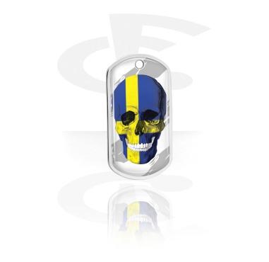 Dog Tags, Placa calavera con bandera sueca, Aluminio