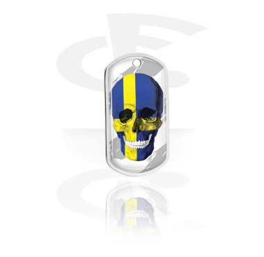 Dog Tags, Skull Dog Tag with Swedish Flag, Aluminum