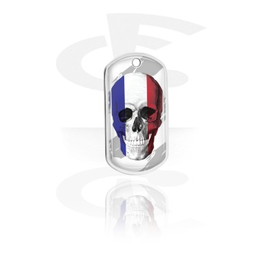Dog Tags, Skull Dog Tag with French Flag, Aluminum