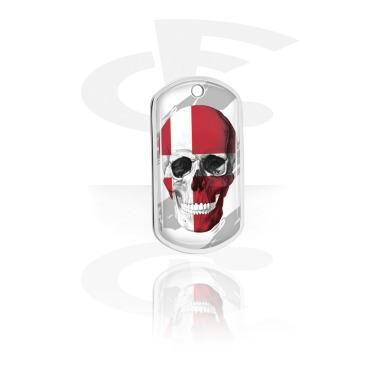 Dog Tags, Skull Dog Tag with Danish Flag, Aluminum