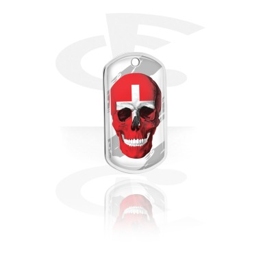 Dog Tags, Skull Dog Tag with Swiss Flag, Aluminum
