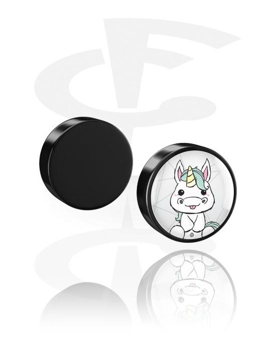 Imitacja biżuterii do piercingu, Magnetic Fake Plug z Crapwaer design, Akryl