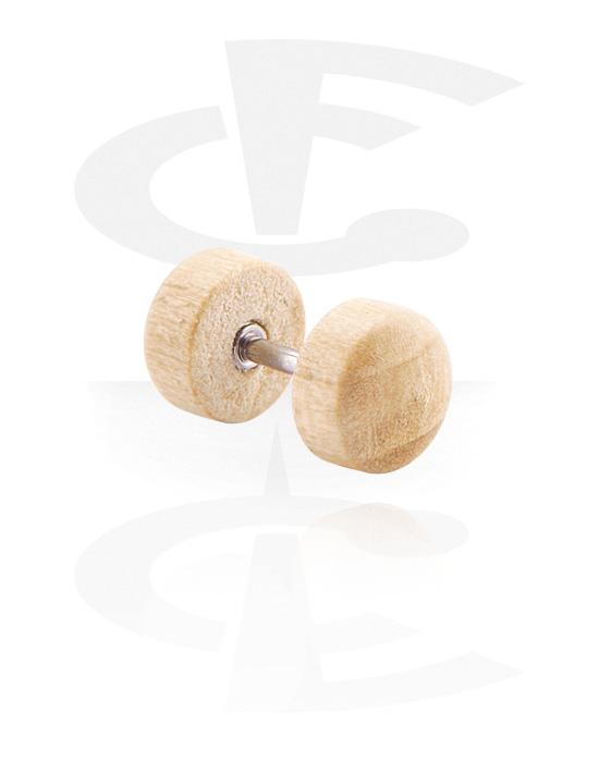 Imitacja biżuterii do piercingu, Fake plug, Drewno, Stal chirurgiczna 316L