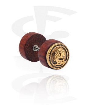 Falešné piercingové šperky, Fake Plug with gold-plated steel attachment, Wood