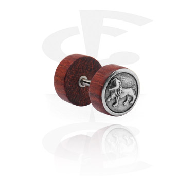 Fake Piercings, Fake plug with Steel Inlay, Mahogany Wood ,  Surgical Steel 316L