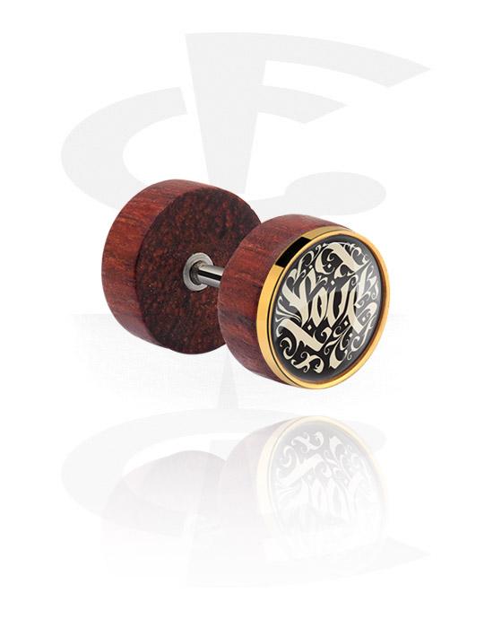 Fake Piercings, Fake Plug mit Stahl-Einlage, Mahagoni, Chirurgenstahl 316L