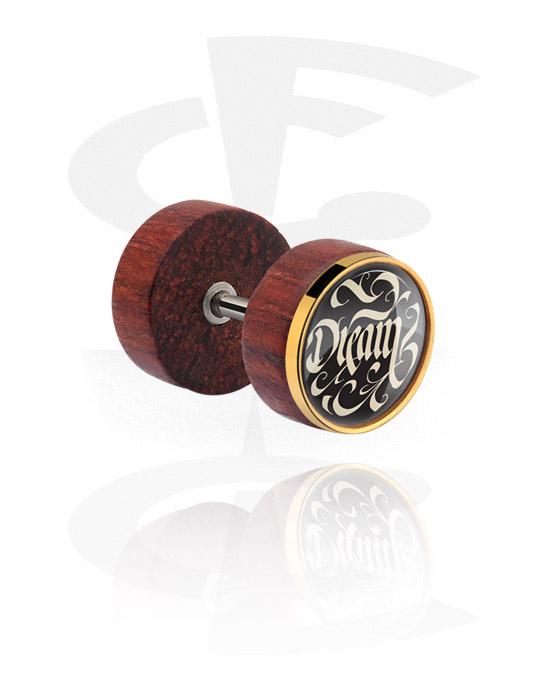 Fake piercings, Fake plug met staal accessoire, Mahogany, Chirurgisch staal 316L