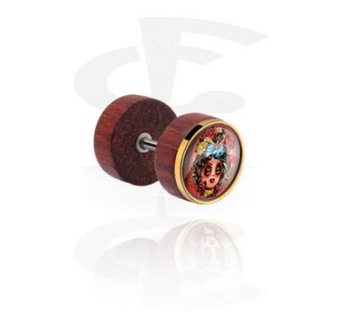 Falešné piercingové šperky, Fake Plug with Motive, Wood