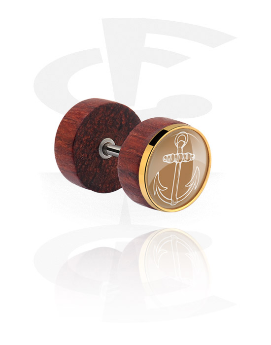 Imitacja biżuterii do piercingu, Fake plug z steel inlay, Drewno mahoniowe, Stal chirurgiczna 316L