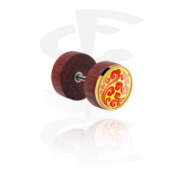 Imitacja biżuterii do piercingu, Fake plug z steel inlay, Mahogany
