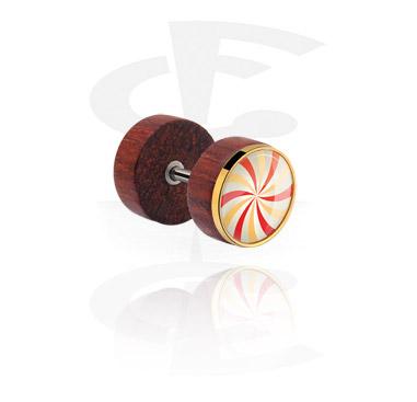 Fake Piercings, Fake plug met staal accessoire, Mahogany