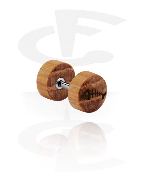 Fake Piercings, Fake Plug mit Lasergravur, Buchenholz, Chirurgenstahl 316L
