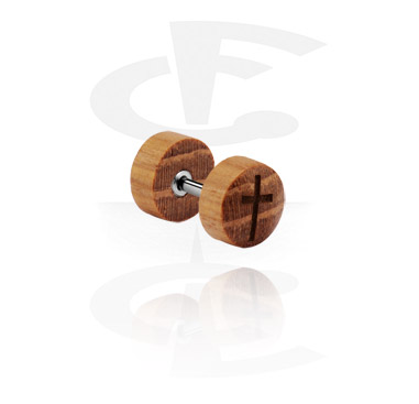 Falešné piercingové šperky, Fake Plug with laser engraving, Wood