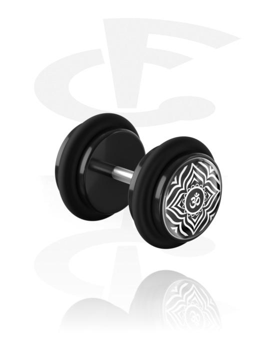 Falešné piercingové šperky, Fake plug s Asian Design, Akryl, Chirurgická ocel 316L