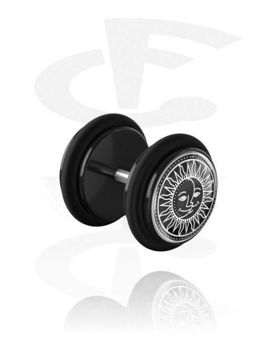 Feikkikorut, Fake plug kanssa Zodiac Circle Design, Akryyli, Kirurginteräs 316L