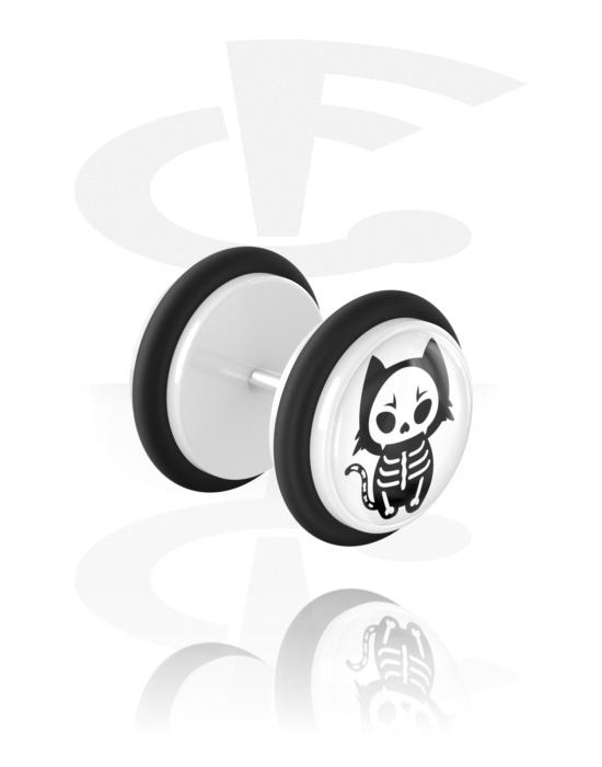 Imitacja biżuterii do piercingu, Fake plug z cute skeleton design, Akryl, Stal chirurgiczna 316L