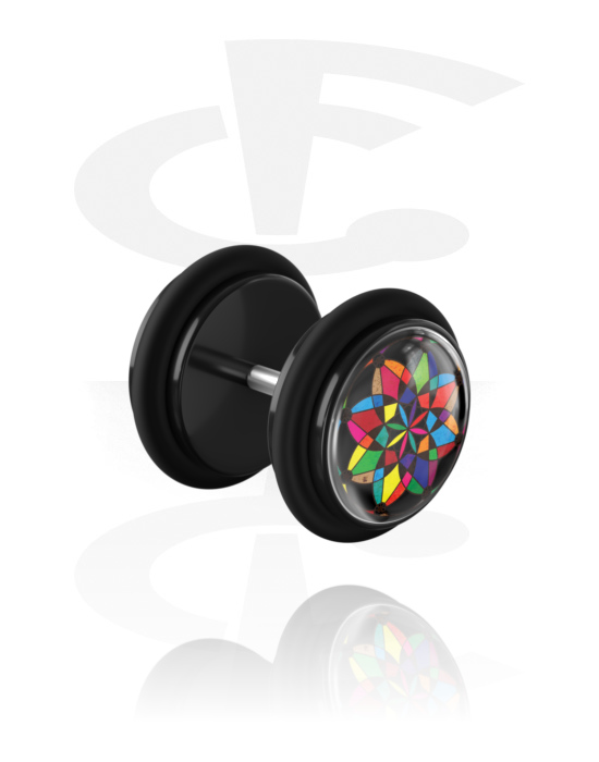 Fake Piercings, Fake Plug with Kaleidoscope Design and O-Rings, Acrylic, Surgical Steel 316L
