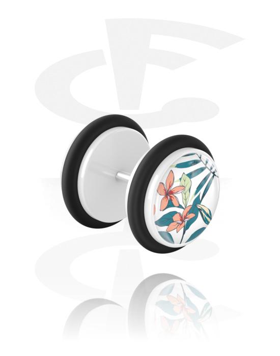 Falešné piercingové šperky, Fake plug s Crazy Exotics Design, Akryl, Chirurgická ocel 316L