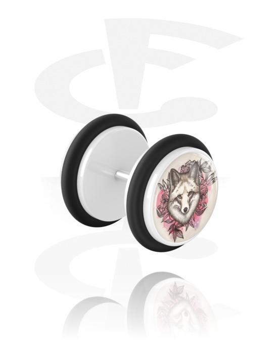 Falešné piercingové šperky, Fake plug s Wolf Design, Akryl, Chirurgická ocel 316L