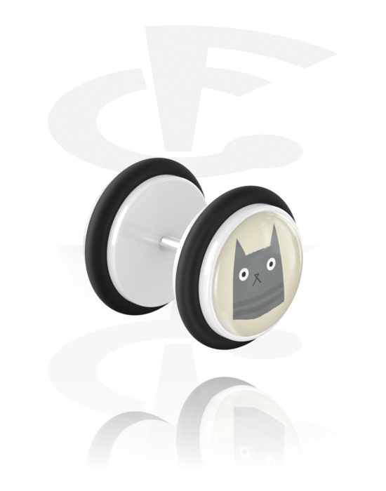 Falešné piercingové šperky, Fake plug s cat design, Akryl, Chirurgická ocel 316L