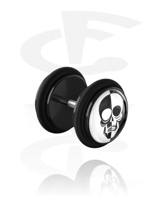 Piercing fake, Fake plug con motivo bianco e nero, Acrilico, Acciaio chirurgico 316L