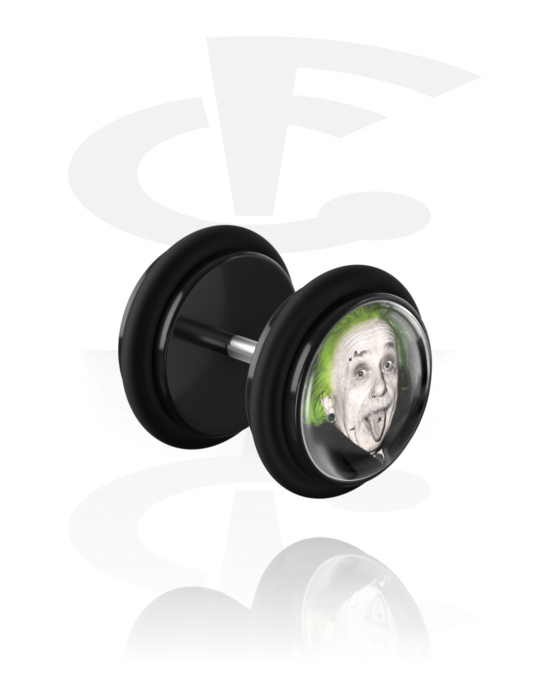 """Fake Piercings, Fake Plug with Crazy Emo """"Emo-Einstein"""", Acrylic, Surgical Steel 316L"""