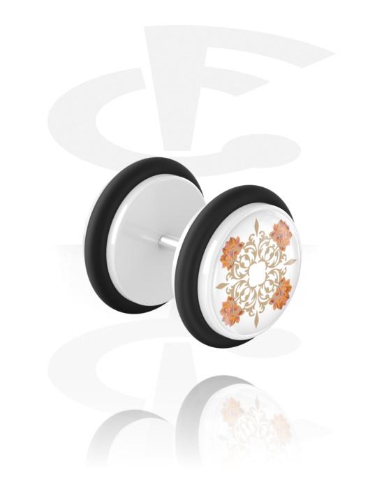 Falešné piercingové šperky, Fake plug s flower design, Akryl, Chirurgická ocel 316L
