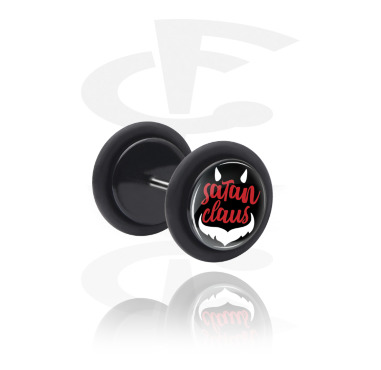 Fake Piercings, Black Fake Plug with Satan Claus Design, Acrylic