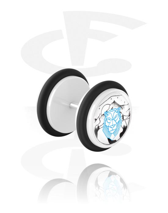 Fake piercings, Fake plug met Landscape Design, Acryl, Chirurgisch staal 316L