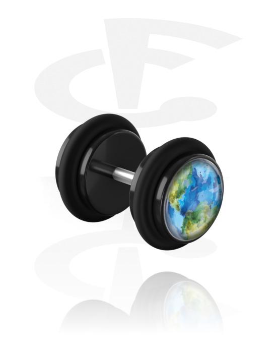 Lažni piercing nakit, Planet Fake Plug 'Earth', Akril, Kirurški čelik 316L